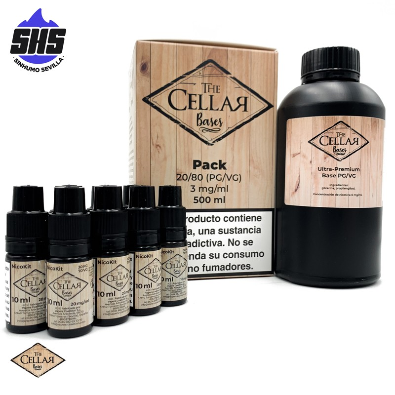 Pack Base 20PG / 80VG 500ml 3mg by The Cellar Bases